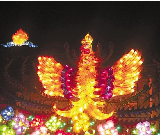 梅花洲凤凰造型花灯图片